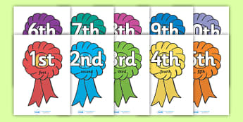 Ordinal Numbers Flashcards - Display posters, counting, 1st, 2nd, 3rd, first, second, third, foundation stage numeracy, ordinal, numeracy, rosettes