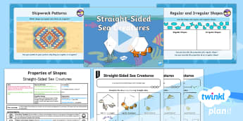 PlanIt Y2 Properties of Shapes 2D Shape (2) Lesson Pack - Drawing 2D shapes, ruler skills, using and applying, straight-sided sea creatures, key stage one, ks