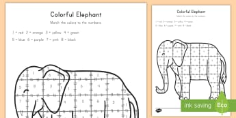 Colorful Elephant Color by Number Activity Sheet - color, color by number, elephant, art, activity, worksheet