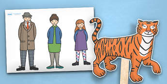 The Tiger Who Came to Tea Stick Puppets - tiger, tea, the tiger who came to tea, book resources, stick puppets, puppets, play, Judith Kerr, girl, story book