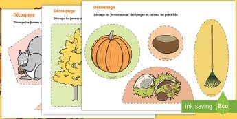 Feuille d'activités pour apprendre à découper sur l'automne - Saisons, marron, râteau, temps, motricité