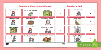 Cappuccetto Rosso Costruisci le Frasi Attività - cappuccetto, rosso, costruisci, le , frasi, grammatica, analisi, logica, grammaticale, italiano, ita