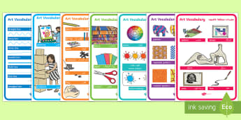 Art Vocabulary Display Posters Arabic/English - KS1, Art Vocabulary, key stage one, art and design, drawing, painting, sculpture, painting, printing