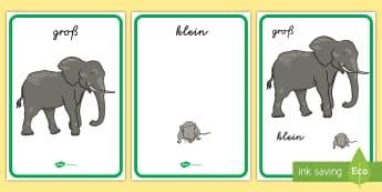 Größen vergleichen Adjektive Poster für die Klassenraumgestaltung - Vergleich, Größe, Länge, Breite, leer, voll,,German