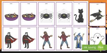 Halloween Pairs Matching Game - Halloween, pairs, matching, game, cards, memory, keywords