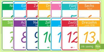 Deutsch-Arabische Zahlen 1-20 Poster für die Klassenraumgestaltung - Deutsch lernen, Deutsch-Arabische Materialien, Deutsch Arabische Materialien, Deutsch Arabische Lehr