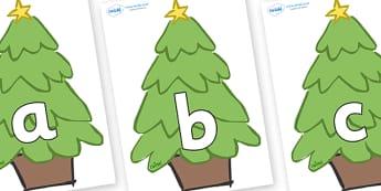 Phoneme Set on Christmas Trees (Plain) - Phoneme set, phonemes, phoneme, Letters and Sounds, DfES, display, Phase 1, Phase 2, Phase 3, Phase 5, Foundation, Literacy