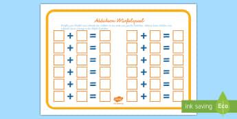 Addition Würfelspiel: Addieren und Anmalen - Addition, addieren, plus, plus rechnen, rechnen, Würfel, würfeln, Mathematik, Additon Spiel,German
