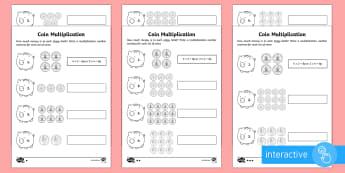 Year 2 Maths Coin Multiplication Homework Go Respond Activity Sheet - year 2, maths, homework, money, multiplication, problem solving, times tables, inverse, worksheet