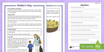 KS2 Mother's Day Differentiated Reading Comprehension Activity - Mother's Day, Mothering Sunday, Lent, Refreshment Sunday, Simnel cake, domestic service, reading co