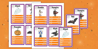 Halloween Character Card Game Arabic Translation - arabic, halloween, hallowe'en, character, card game