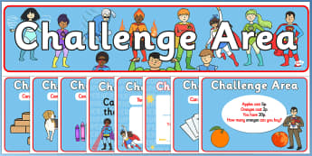 Challenge Area Pack (Superheroes) - Challenge, role play, pack, gifted and talented, Area Signs, challenges, challenge resources, Banner, Foundation Stage Area Signs, Classroom labels, Area labels, Area Signs, Classroom Areas, Poster, Display, Areas