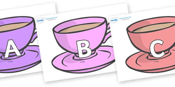 A-Z Alphabet on Cups - A-Z, A4, display, Alphabet frieze, Display letters, Letter posters, A-Z letters, Alphabet flashcards