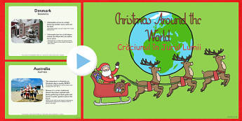 Christmas Around The World Powerpoint Romanian Translation - festive, jolly, fun, different, culture, compare, contrast, explain, information, record, note, display, countries, globe, ks1, ks2, key stage