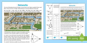 Networks Maths Investigation Activity Sheet - odds, evens, bridges, investigate, challenge, Euler, nodes, vertices, Worksheet