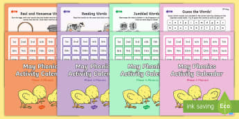 May Phonics Activity Calendar Powerpoint Pack - phase 2, phase 3, phase 4, phase 5, May, spring, animals theme, spring theme, phonics, powerpoint, c
