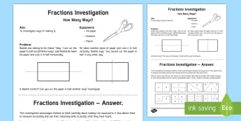 Fractions Investigation Teaching Ideas