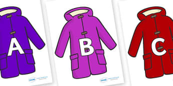 A-Z Alphabet on Coats - A-Z, A4, display, Alphabet frieze, Display letters, Letter posters, A-Z letters, Alphabet flashcards