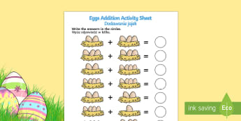 Eggs In Nest Addition Sheet English/Polish - eggs addition, egg counting, eggs addition sheet, eggs in nests addition, chicken life cycle, on the