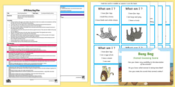 EYFS Animal Guessing Game Busy Bag Plan and Resource Pack - Phase 1, Aspect 1, General Sound Discrimination, Environmental Sounds, phonics, letters and sounds,