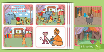 Why the Clouds Sit on Top of the Hill Story Sequencing Cards - sequencing cards, african tale, tinga tinga, clouds, magic, potjie, monkey, gogo