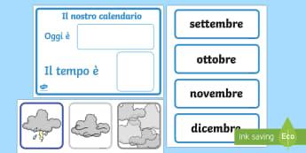 Il Calendario del Meteo Attività - il, tempo, meteo, temporale, italiano, italian, calendario, classe, decorazione