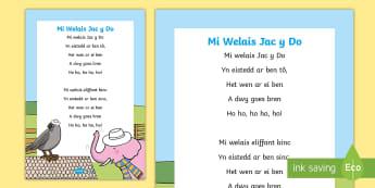 Mi Welais Jac y Do - Hwiangerddi Cymreig A4 Display Poster - Hwiangerddi Cymreig (Welsh Nursery Rhymes) Mi Welais Jac y Do, poster arddangos, canu, cerddoriaeth,