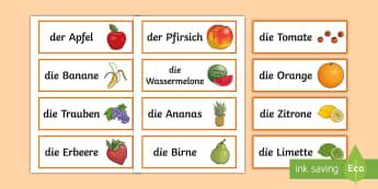 Obstsorten Wort- und Bildkarten  - Obst, Obstsorten, DAF, DAZ, Wort- und Bildkarten,gesundes Essen, Vitamin