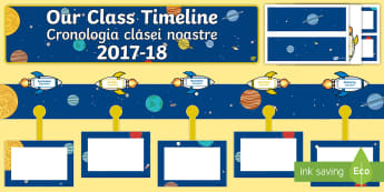 Our Class Timeline 2017/18 Space Themed Display Timeline English/Romanian - CfE Class Display, space, timelines,rockets, planets
