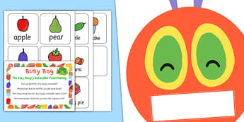 Food Posting Activity Busy Bag Prompt Card and Resource Pack to Support Teaching on The Very Hungry Caterpillar - Busy bag, Eric Carle, Food sort