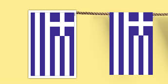 Greece A4 Flag Bunting - countries, geography, flags, country