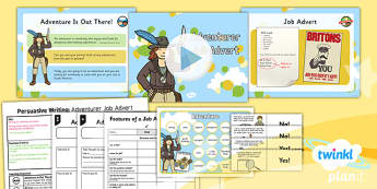 PlanIt Y2 Up Lesson Pack Persuasive Writing - explorers, adventure, story, stories, film, Up, advert