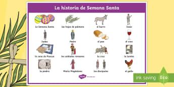 The Easter Story Spanish Word Mat - Spring, KS2, Spanish, MFL, easter, story, word, mat ,Spanish
