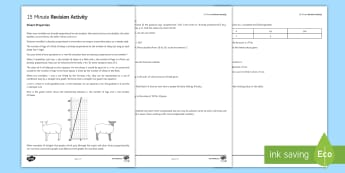 15 Minute Revision Activities: Direct Proportion Activity Sheet - proportion, graphs, ratio, direct proportion, ratio, proportional, formulae, constant, proportionali