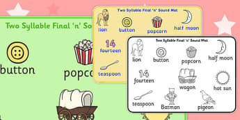 Two Syllable Final 'N' Sound Word Mat 2 - final n, sound, mat