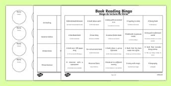 Book Reading Bingo Activity Sheets Spanish Translation--translation, worksheet