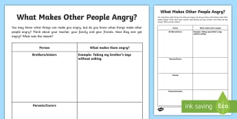 What Makes Other People Angry? Activity Sheet - PSHCE, transition, behaviour, emotions, friendship, worksheet