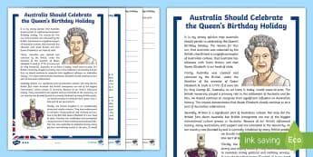 Australia Should Celebrate the Queen's Birthday Differentiated Reading Comprehension Activity - persuasive, persuasion, argument, reasons, for, against, holiday, britain