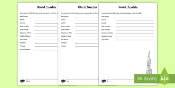 UAE World Jumble Differentiated Activity Sheet - KS1, Scrambled, worksheet, vocabulary, key words, anagram