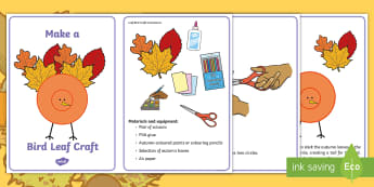 Leaf Bird Craft Instructions - autumn, craft, animals, collage, nature