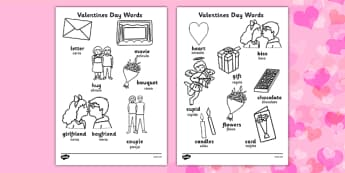Valentine's Day Words Colouring Sheet English/Spanish - spanish, valentines, colouring