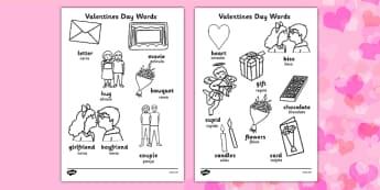 Hoja de colorear de vocabulario de San Valentín en inglés - San Valentín, amor, inglés