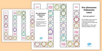 Gra planszowa Podawanie czasu - czas, godzina, godziny, czasu, zegar, odczytywanie, podaj, która, jest, wpół, gra, planszowa, pla
