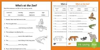Who's at the Zoo? Fill in the Blanks Activity Sheet - exploring my world, cloze, aistear, story, zoo, literacy, oral language, reading, animals, tiger, el