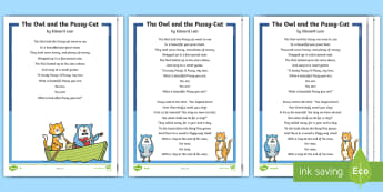 KS1 The Owl and the Pussy-Cat Poem Differentiated Reading Comprehension Activity - Develop pleasure in reading, motivation to read, vocabulary and understanding, Understand what they