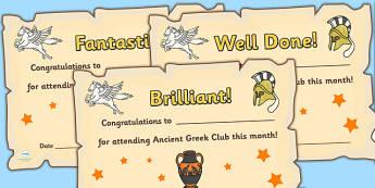 Ancient Greek Club Certificates - ancient greek, club, certificates