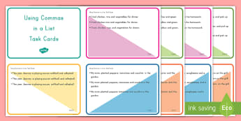 Using Commas in a List Task Cards - Commas, List, Task Cards, Scoot, Common Core, Grammar, ELA
