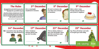 Acts of Kindness - The Alternative Advent Display Posters - Christmas, countdown, goodwill, charity, caring, Health, wellbeing,,Scottish