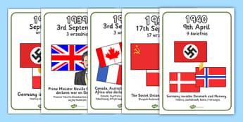 World War Two Timeline Display Posters Polish Translation - polish, world war two
