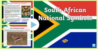 South Africa's National Symbols PowerPoint - national symbols, protea, springbuck, blue crane, yellowwood, galjoen, anthem, flag, symbols, nation